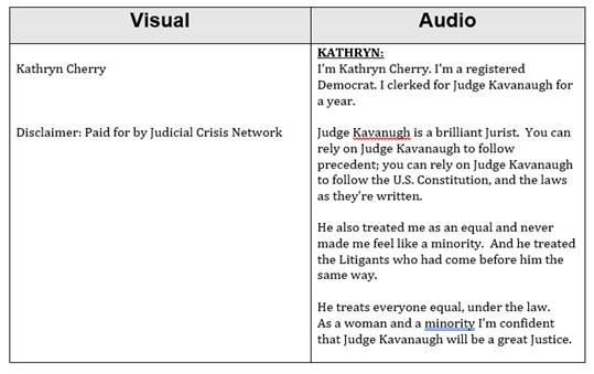 Judicial Crisis Network Launches Two New Ads Featuring Democrat Law Clerk for Kavanaugh and Hillbilly Elegy Author; Expands Outreach to MSNBC